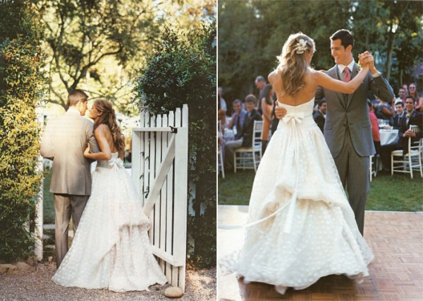 white polka dot wedding dress